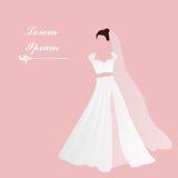 Невеста Bridal мантия Белое платье Розовая предпосылка добавьте текст Bridal приглашение ливня Стоковые Фотографии RF