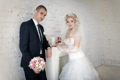 невеста groom на их день свадьбы около камина Стоковые Фотографии RF