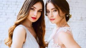 2 невесты в платьях нежного света - розовых и голубых свадьбы в утре Стоковое фото RF