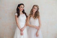 2 невесты в платьях свадьбы wedding белокурое брюнет Стоковое Изображение