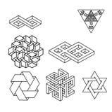 Невозможный комплект вектора символов геометрии Стоковые Фото