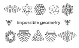 Невозможный комплект вектора символов геометрии Стоковые Изображения