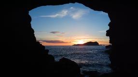 Нега захода солнца Cala Compte Ibiza Стоковые Фотографии RF