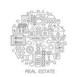 Недвижимость в круге - линии иллюстрации концепции для крышки, эмблемы, значка Линия установленные значки недвижимости тонкая ход иллюстрация штока