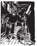 Нежити, зомби и крыса - вектор, freehand делая эскиз к Стоковое Изображение