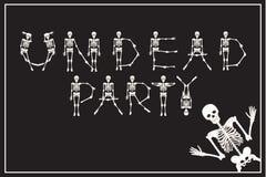 Нежити литерности party с скелетами шрифтом танцев, комплектом lette Стоковая Фотография RF