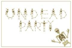 Нежити литерности party с скелетами шрифтом танцев, комплектом lette Стоковое Изображение RF