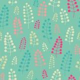 Нежная безшовная картина с хворостинами и ягодами Бесконечная предпосылка Фон вектора Пастельная картина Стоковая Фотография