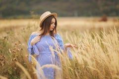 Нежная прогулка беременной женщины в поле Дама со шляпой в голубом платье ослабьте время Женщина ждет младенца стоковые изображения rf