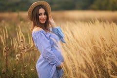 Нежная прогулка беременной женщины в поле Дама со шляпой в голубом платье ослабьте время Женщина ждет младенца стоковые фото