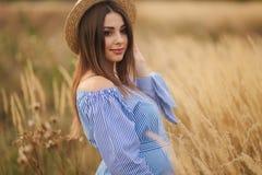 Нежная прогулка беременной женщины в поле Дама со шляпой в голубом платье Ослабьте время Женщина ждет младенца стоковое фото