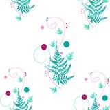 Нежная, светлая картина с розовыми кругами и листья папоротника Иллюстрация вектора