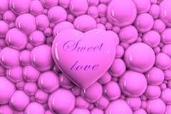"""нежно розовое сердце 3D на предпосылке пузырей с надписью """"сладкая любовь """" иллюстрация вектора"""