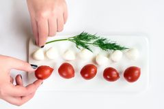 Нежные женские руки исправляя состав верхнего взгляда на составе томата и сыра изолированном в белизне стоковые фото