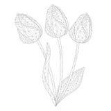 Нежные тюльпаны мозаики для красить и дизайна белизна изолированная предпосылкой иллюстрация вектора