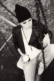 Нежный портрет красивой девушки на качании Стоковое Изображение RF