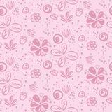 Нежный розовый цветочный узор doodle бесплатная иллюстрация