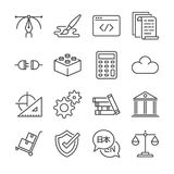 Независимая линия значок работ установила 1 Включил значки как графический дизайн, кодирвоание, логистическое, переведите, веб-ди иллюстрация вектора