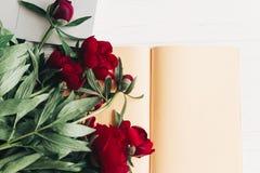 Независимая концепция стильная компьтер-книжка с блокнотом и красивым r Стоковая Фотография