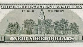 Независимость Hall США дальше подпирает 100 долларов счета Стоковые Изображения RF