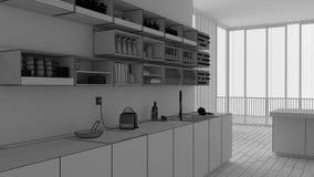 Незаконченный проект проекта, минималистская белая кухня со шкафами и полки, открытое пространство с панорамным окном, современно иллюстрация вектора