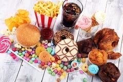 Нездоровые продукты неудача еды для диаграммы, кожи, сердца и зубов Стоковое Изображение