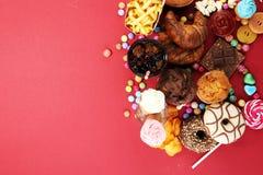 Нездоровые продукты неудача еды для диаграммы, кожи, сердца и зубов Стоковые Изображения RF