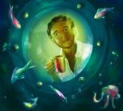Незнакомец в мире рыб иллюстрация вектора