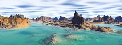 Неизвестная планета Горы панорама Стоковые Изображения RF