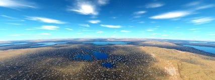 Неизвестная планета Горы панорама Стоковое Изображение
