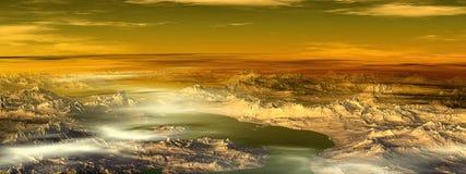 Неизвестная планета Горы панорама Стоковая Фотография