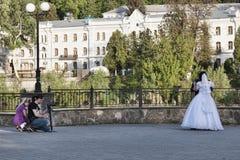 Неизвестные фотографы на обваловке Sviatohirsk, фаворите Стоковое Фото