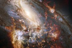 Неимоверно красивая галактика где-то в глубоком космосе Обои научной фантастики стоковое изображение