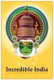неимоверный плакат kathakali Индии Стоковые Фотографии RF