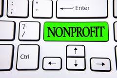 Некоммерческая организация текста сочинительства слова Концепция дела для деятельности которая не производит доходы к выполнителю стоковые фото