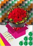 Некоторая красная роза и шарики иллюстрация штока