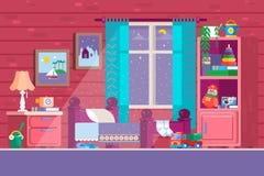 Некоторая спальня малыша Иллюстрация спальни детей шаржа с элементами образа жизни мальчика или девушки, игрушками, кроватью, кни иллюстрация штока