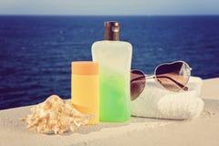 Некоторые аксессуары пляжа Стоковые Изображения