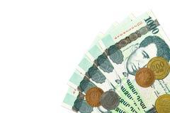 Некоторые 1000 армянских бумажных денег драхмы с армянскими монетками стоковая фотография rf