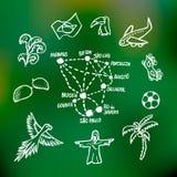 Некоторые бразильские символы и города иллюстрация вектора