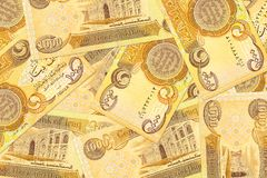 Некоторые 1000 бумажных денег иракского динара obverse стоковое изображение rf