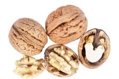 Некоторые грецкие орехи изолированные на белой предпосылке Стоковые Фотографии RF