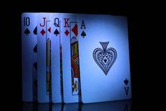 Некоторые из играя карточек, от 10 к тузу Стоковое фото RF