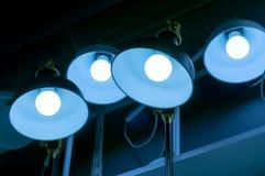 Некоторые привели предпосылку науки и техники ламп голубую светлую Стоковое Фото