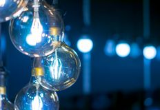 Некоторые привели предпосылку науки и техники ламп голубую светлую Стоковые Изображения RF