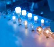 Некоторые привели предпосылку науки и техники ламп голубую светлую Стоковая Фотография RF