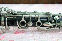 Некоторые части музыкальных инструментов, кларнета, дуя аппаратуры стоковые изображения rf