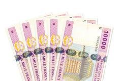 Некоторый obverse банкноты франка 10000 центрально-африканский CFA стоковая фотография rf