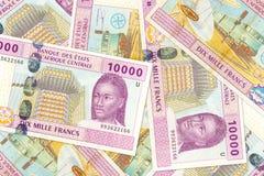 Некоторый obverse банкноты франка 10000 центрально-африканский CFA стоковое фото rf