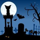 Некрополь с черными котами и летучими мышами Стоковое Изображение